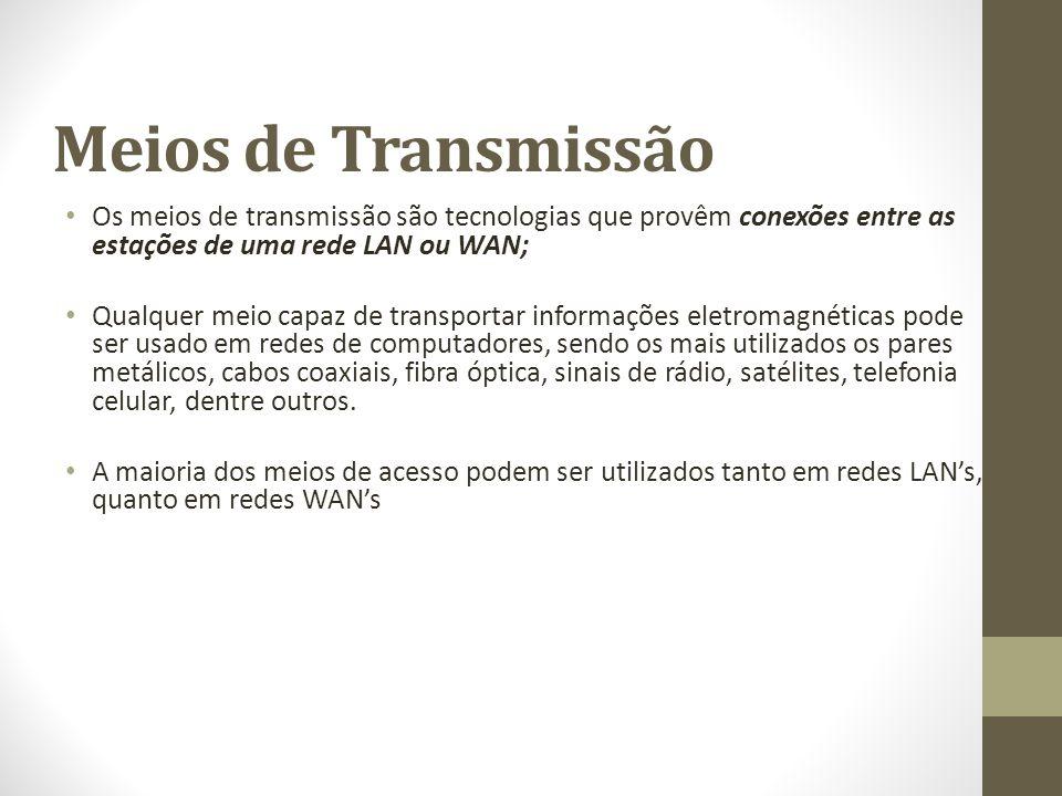 Meios de Transmissão Os meios de transmissão são tecnologias que provêm conexões entre as estações de uma rede LAN ou WAN; Qualquer meio capaz de tran