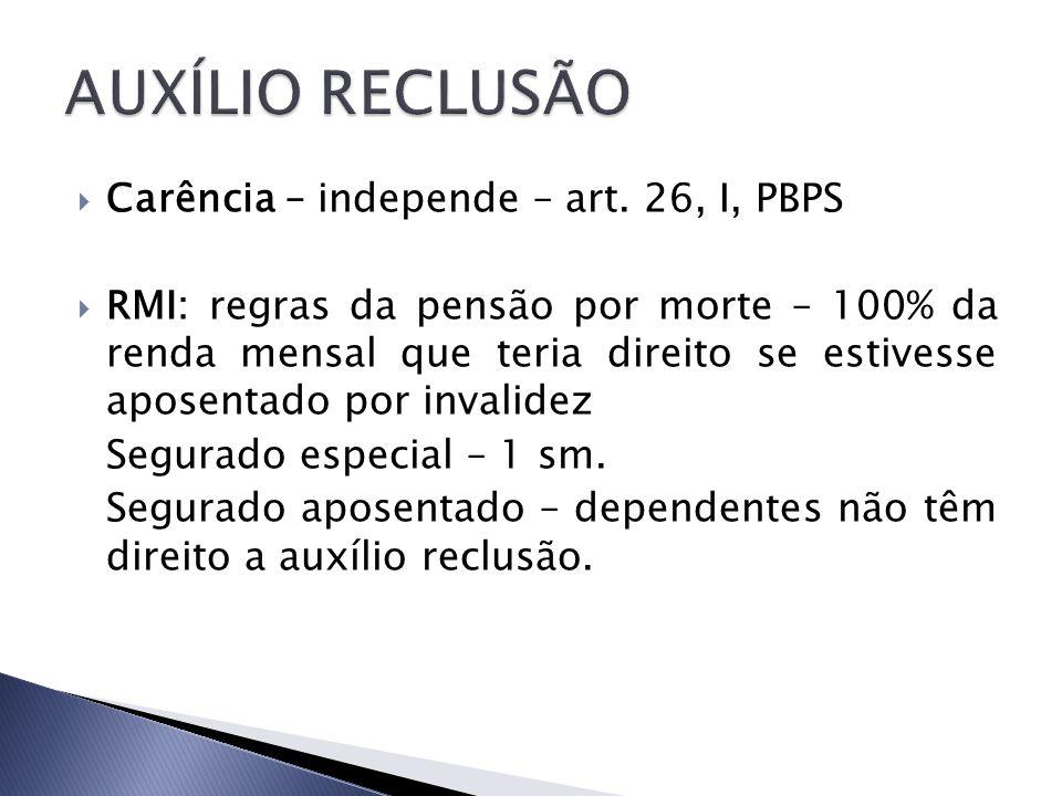 Carência – independe – art. 26, I, PBPS RMI: regras da pensão por morte – 100% da renda mensal que teria direito se estivesse aposentado por invalidez