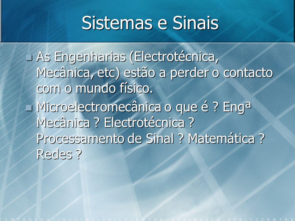 Sistemas e Sinais As Engenharias (Electrotécnica, Mecânica, etc) estão a perder o contacto com o mundo físico.