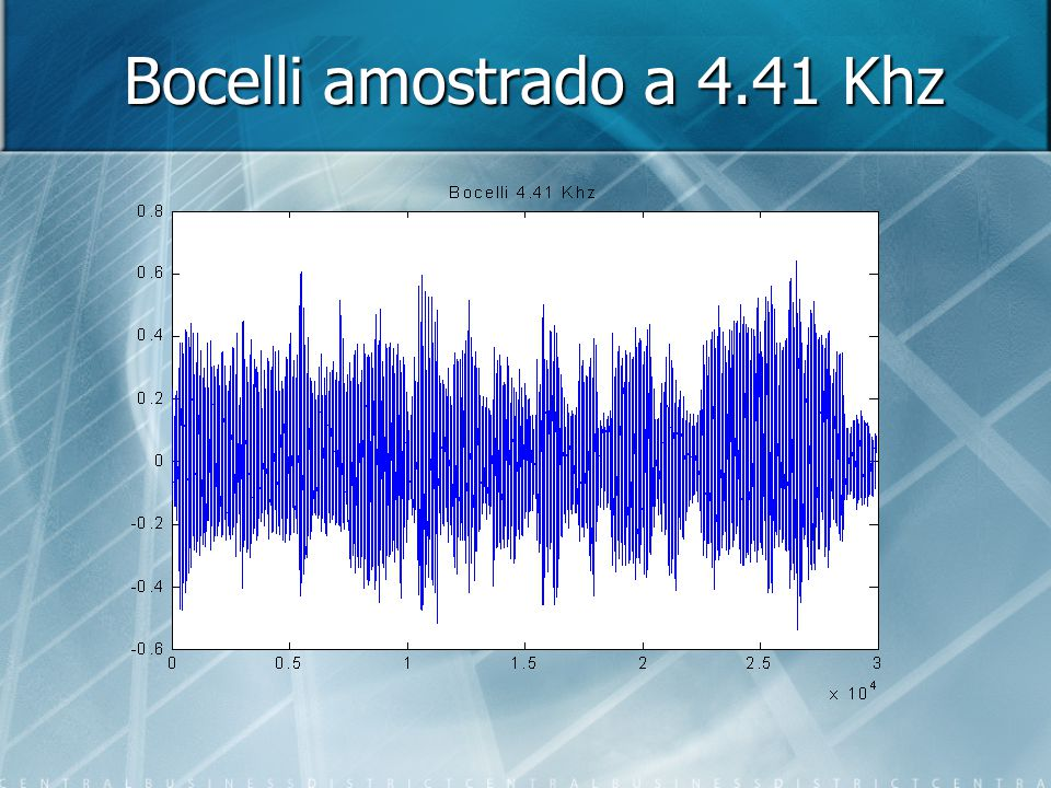 Se amostrado a 4.41 Khz: [Bocelli44, SampleFreq, Bits]=wavread( bocelli ); siz=size(Bocelli44); ratio=10 for i=ratio:ratio:siz(1) Bocelli4(i/ratio) = (Bocelli44(i, 1) + Bocelli44(i, 2))/2; i end