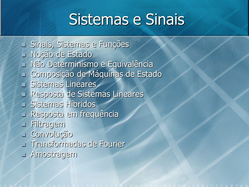 Sistemas e Sinais Sinais, Sistemas e Funções Sinais, Sistemas e Funções Noção de Estado Noção de Estado Não Determinismo e Equivalência Não Determinismo e Equivalência Composição de Máquinas de Estado Composição de Máquinas de Estado Sistemas Lineares Sistemas Lineares Resposta de Sistemas Lineares Resposta de Sistemas Lineares Sistemas Híbridos Sistemas Híbridos Resposta em frequência Resposta em frequência Filtragem Filtragem Convolução Convolução Transformadas de Fourier Transformadas de Fourier Amostragem Amostragem