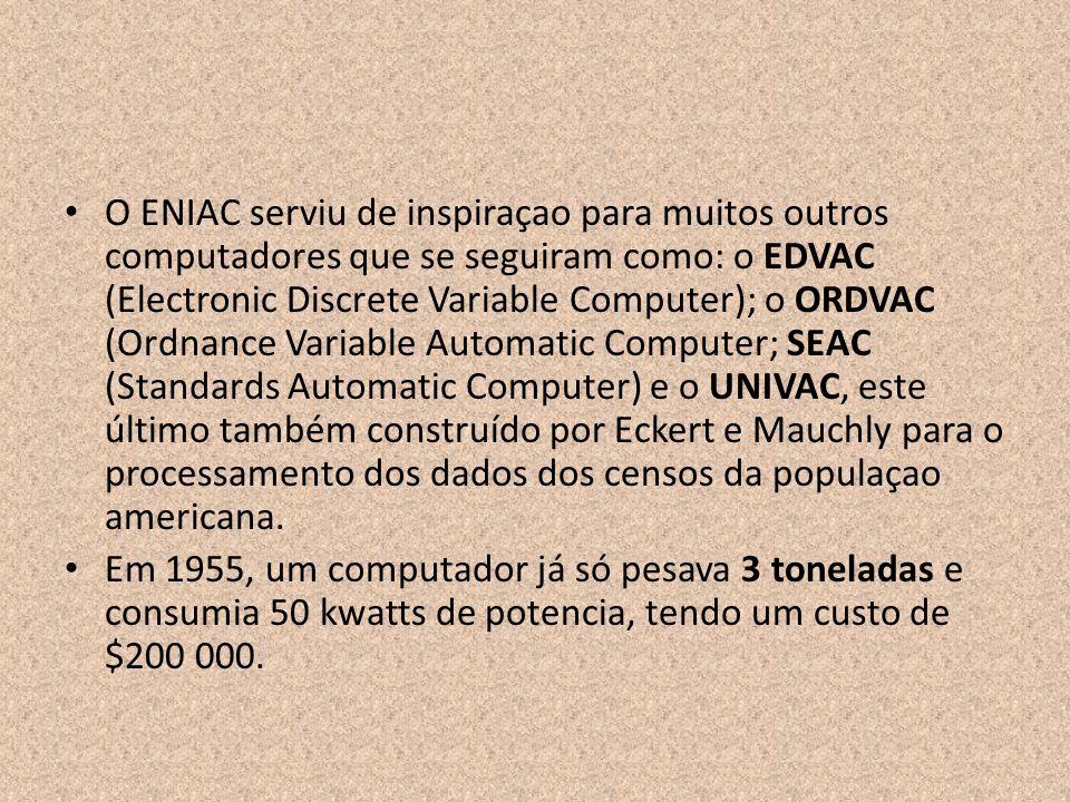 O ENIAC serviu de inspiraçao para muitos outros computadores que se seguiram como: o EDVAC (Electronic Discrete Variable Computer); o ORDVAC (Ordnance
