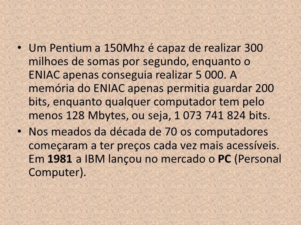 Um Pentium a 150Mhz é capaz de realizar 300 milhoes de somas por segundo, enquanto o ENIAC apenas conseguia realizar 5 000. A memória do ENIAC apenas
