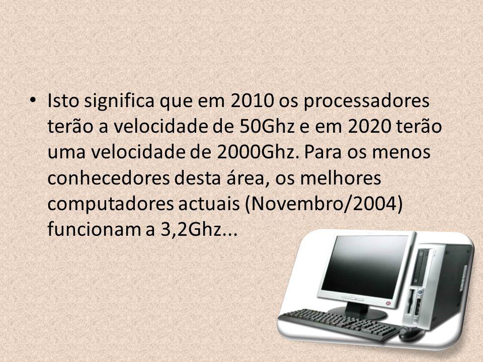 Isto significa que em 2010 os processadores terão a velocidade de 50Ghz e em 2020 terão uma velocidade de 2000Ghz. Para os menos conhecedores desta ár
