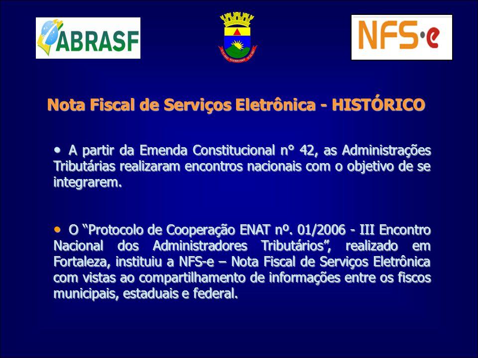 Nota Fiscal de Serviços Eletrônica - HISTÓRICO A partir da Emenda Constitucional n° 42, as Administrações Tributárias realizaram encontros nacionais c