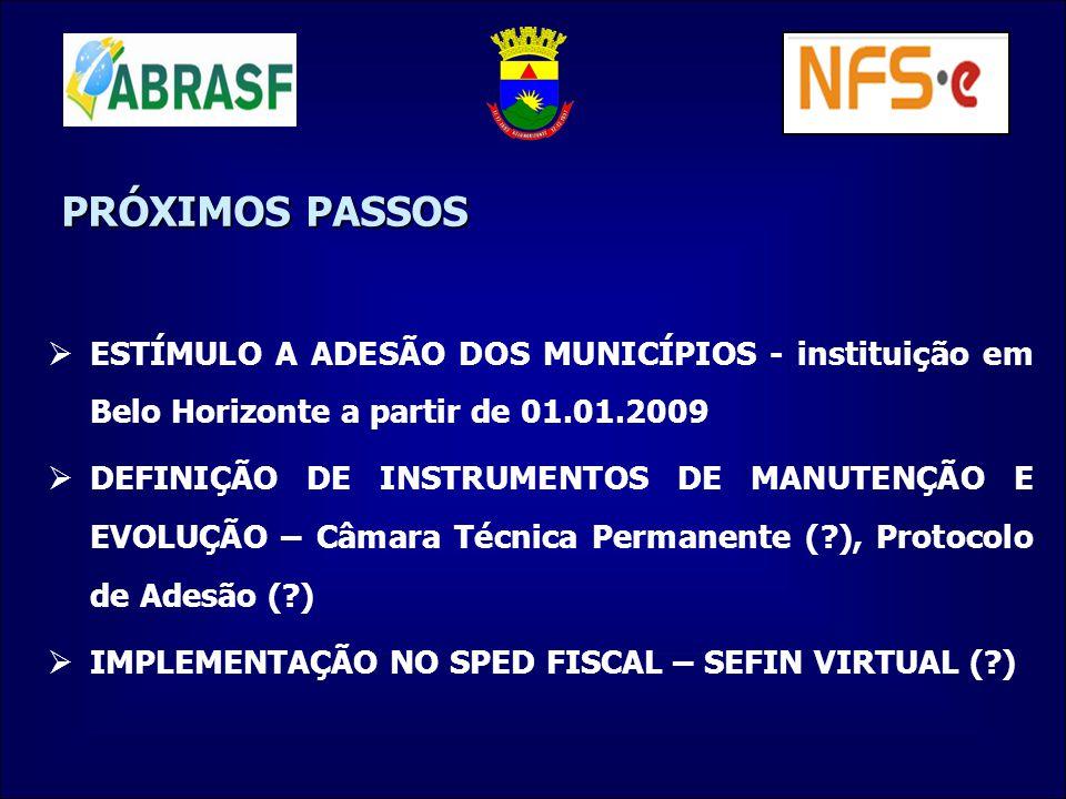 PRÓXIMOS PASSOS ESTÍMULO A ADESÃO DOS MUNICÍPIOS - instituição em Belo Horizonte a partir de 01.01.2009 DEFINIÇÃO DE INSTRUMENTOS DE MANUTENÇÃO E EVOL