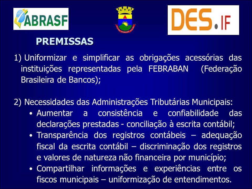 1) Uniformizar e simplificar as obrigações acessórias das instituições representadas pela FEBRABAN (Federação Brasileira de Bancos); 2) Necessidades d