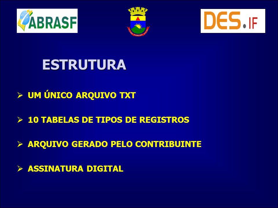 ESTRUTURA UM ÚNICO ARQUIVO TXT 10 TABELAS DE TIPOS DE REGISTROS ARQUIVO GERADO PELO CONTRIBUINTE ASSINATURA DIGITAL