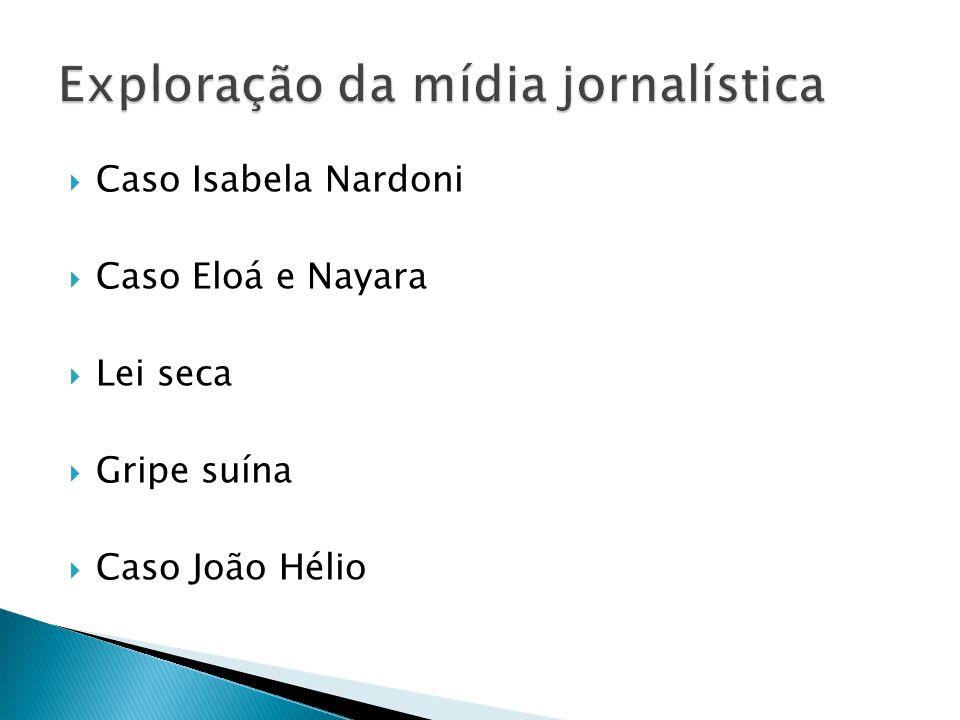 Caso Isabela Nardoni Caso Eloá e Nayara Lei seca Gripe suína Caso João Hélio