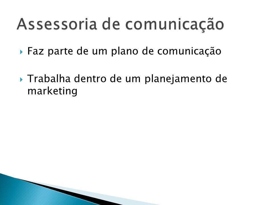 Faz parte de um plano de comunicação Trabalha dentro de um planejamento de marketing