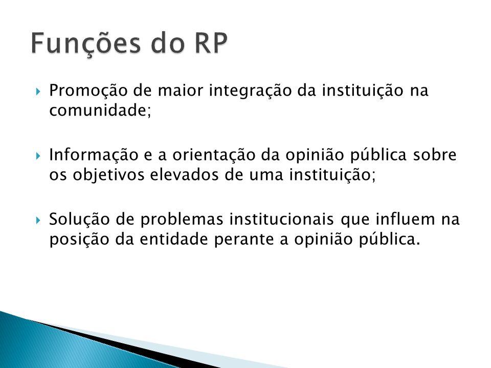 Promoção de maior integração da instituição na comunidade; Informação e a orientação da opinião pública sobre os objetivos elevados de uma instituição