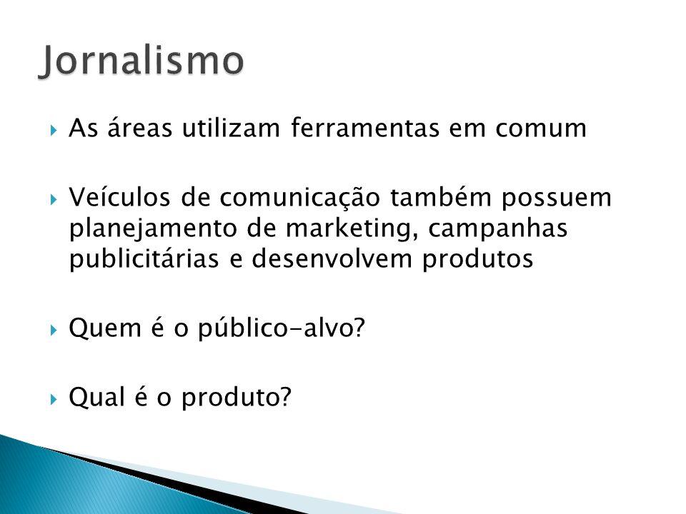 As áreas utilizam ferramentas em comum Veículos de comunicação também possuem planejamento de marketing, campanhas publicitárias e desenvolvem produtos Quem é o público-alvo.