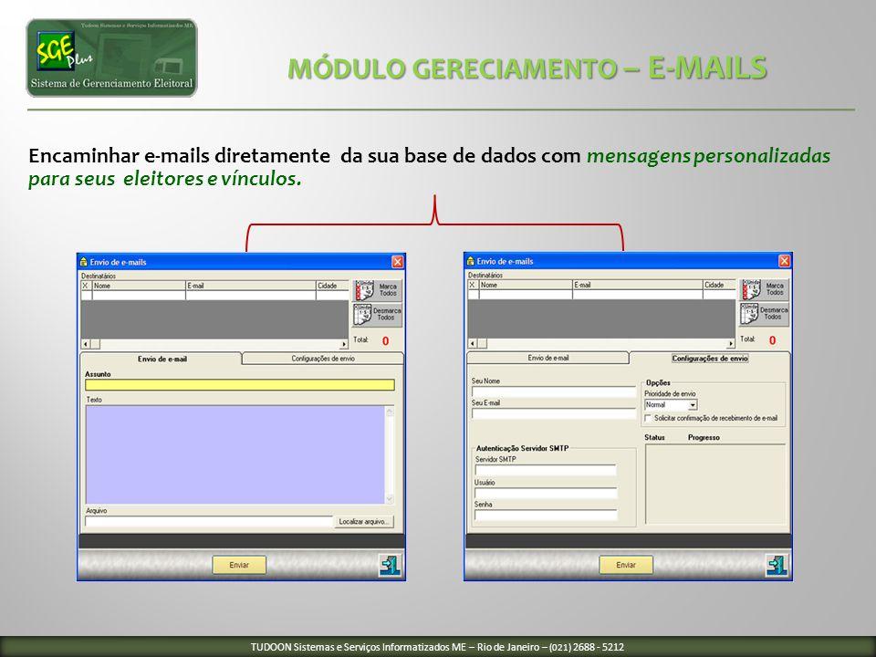 Encaminhar e-mails diretamente da sua base de dados com mensagens personalizadas para seus eleitores e vínculos. MÓDULO GERECIAMENTO – E-MAILS MÓDULO
