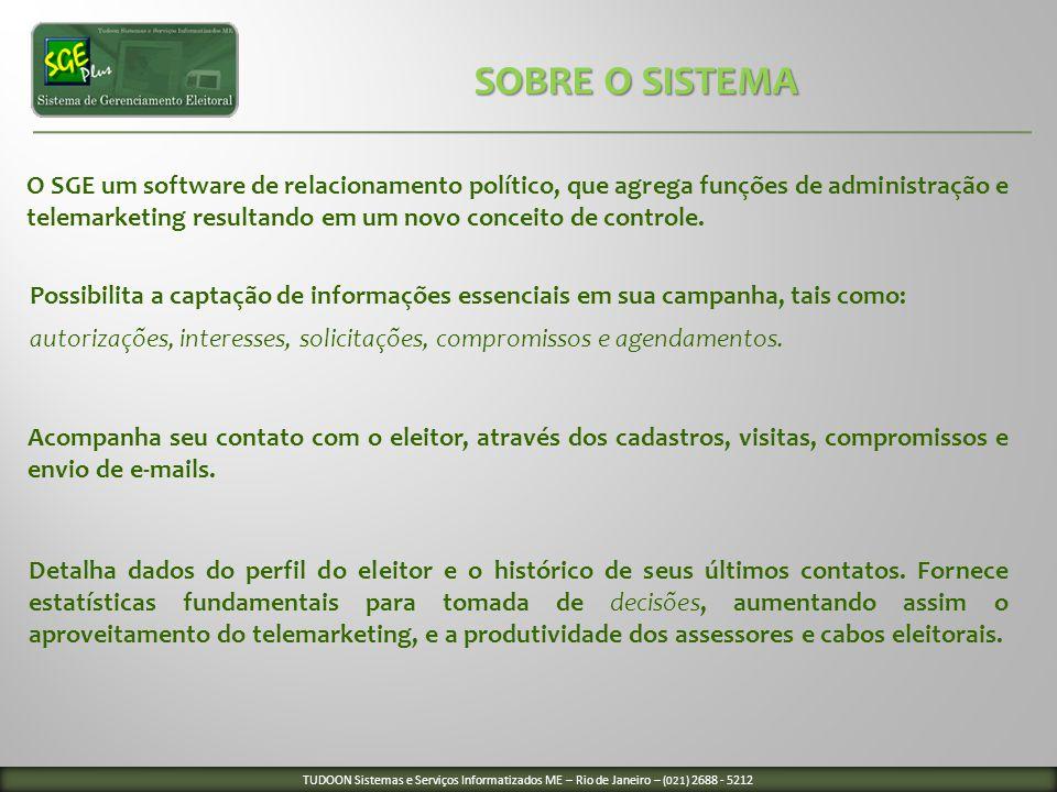 O SGE um software de relacionamento político, que agrega funções de administração e telemarketing resultando em um novo conceito de controle. Acompanh