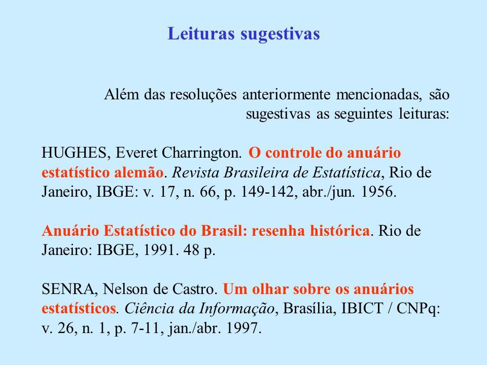 Leituras sugestivas Além das resoluções anteriormente mencionadas, são sugestivas as seguintes leituras: HUGHES, Everet Charrington.
