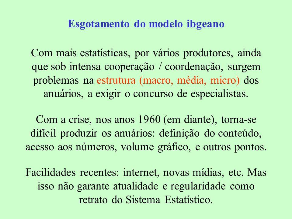 Esgotamento do modelo ibgeano Com mais estatísticas, por vários produtores, ainda que sob intensa cooperação / coordenação, surgem problemas na estrutura (macro, média, micro) dos anuários, a exigir o concurso de especialistas.