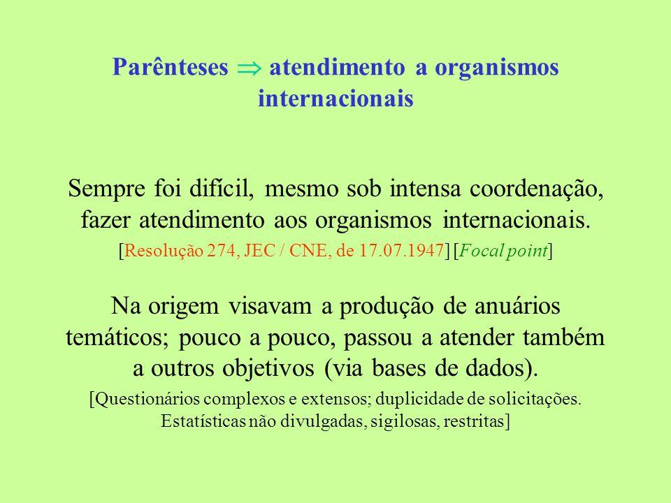 Parênteses atendimento a organismos internacionais Sempre foi difícil, mesmo sob intensa coordenação, fazer atendimento aos organismos internacionais.