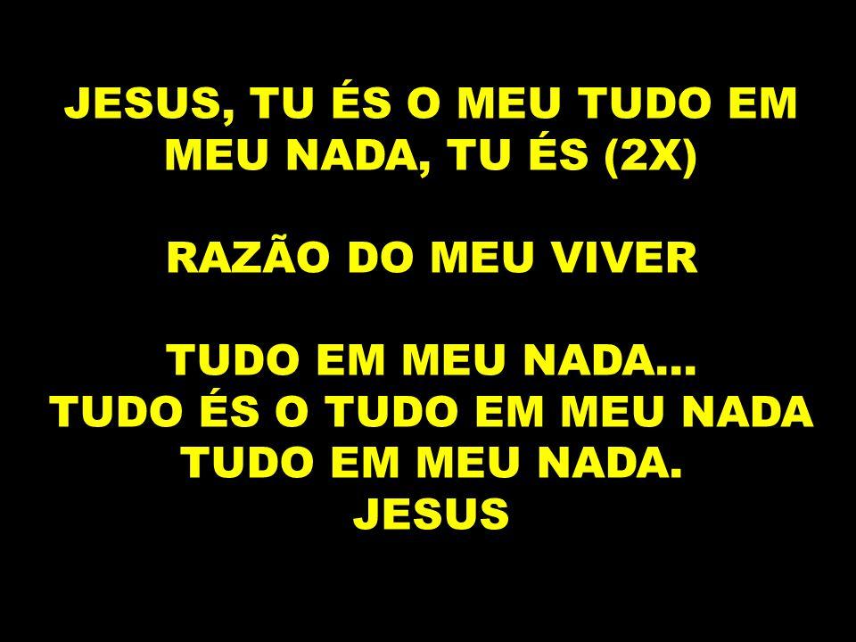 JESUS, TU ÉS O MEU TUDO EM MEU NADA, TU ÉS (2X) RAZÃO DO MEU VIVER TUDO EM MEU NADA... TUDO ÉS O TUDO EM MEU NADA TUDO EM MEU NADA. JESUS