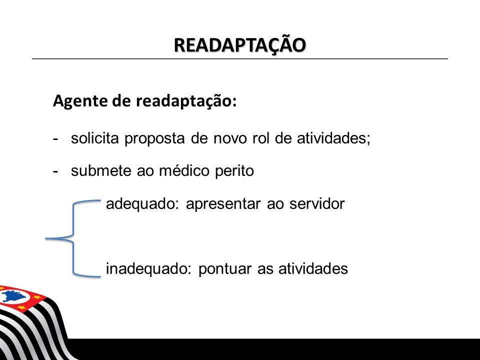 READAPTAÇÃO Agente de readaptação: -solicita proposta de novo rol de atividades; -submete ao médico perito adequado: apresentar ao servidor inadequado