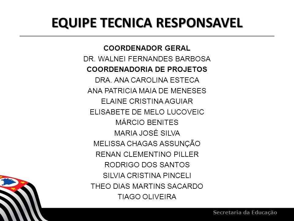 EQUIPE TECNICA RESPONSAVEL COORDENADOR GERAL DR. WALNEI FERNANDES BARBOSA COORDENADORIA DE PROJETOS DRA. ANA CAROLINA ESTECA ANA PATRICIA MAIA DE MENE