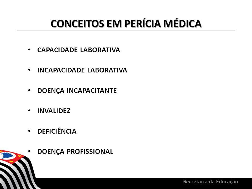CONCEITOS EM PERÍCIA MÉDICA CAPACIDADE LABORATIVA INCAPACIDADE LABORATIVA DOENÇA INCAPACITANTE INVALIDEZ DEFICIÊNCIA DOENÇA PROFISSIONAL Secretaria da
