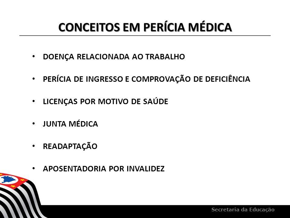 CONCEITOS EM PERÍCIA MÉDICA DOENÇA RELACIONADA AO TRABALHO PERÍCIA DE INGRESSO E COMPROVAÇÃO DE DEFICIÊNCIA LICENÇAS POR MOTIVO DE SAÚDE JUNTA MÉDICA