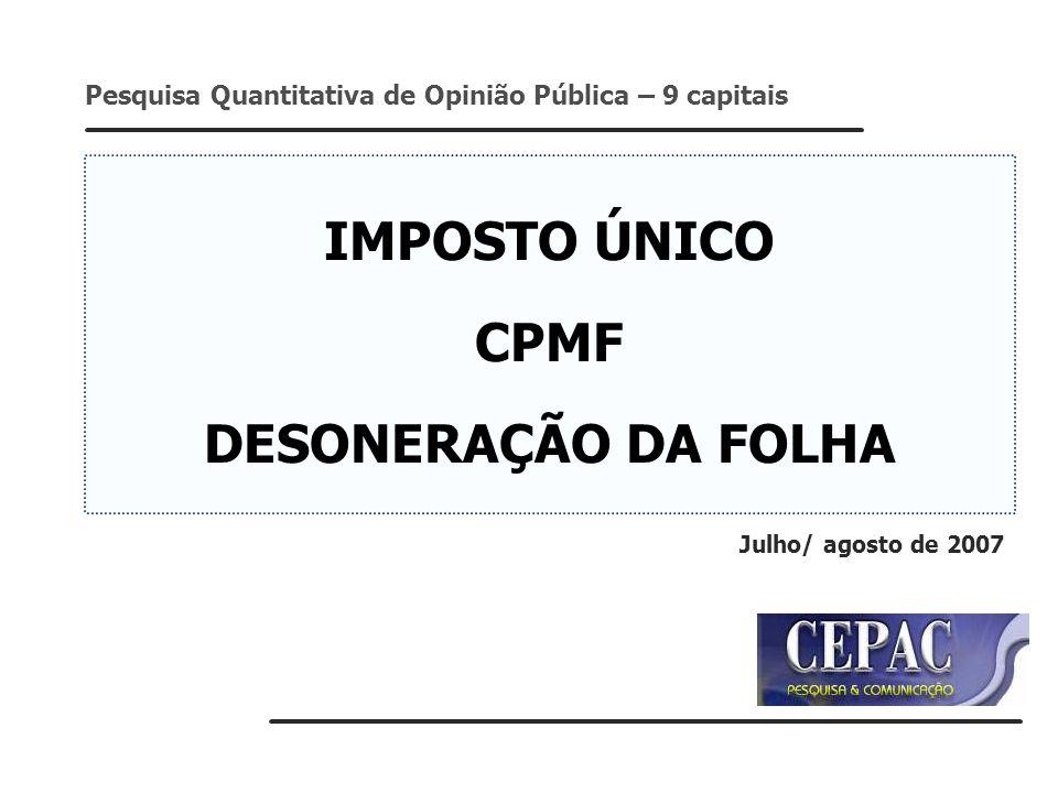 IMPOSTO ÚNICO CPMF DESONERAÇÃO DA FOLHA Pesquisa Quantitativa de Opinião Pública – 9 capitais Julho/ agosto de 2007