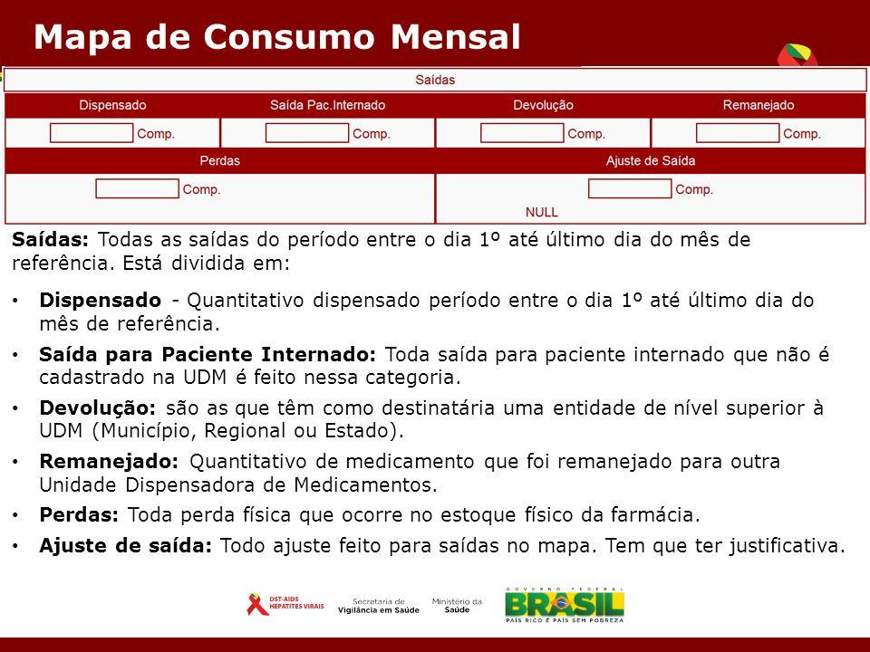 Mapa de Consumo Mensal Saídas: Todas as saídas do período entre o dia 1º até último dia do mês de referência.