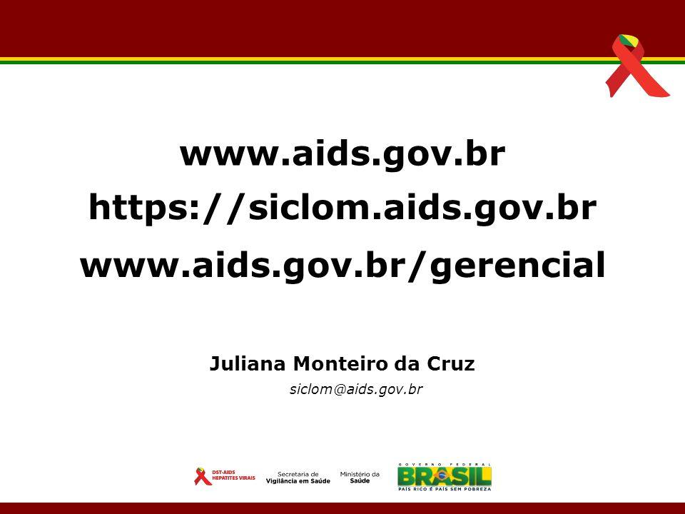 Juliana Monteiro da Cruz siclom@aids.gov.br www.aids.gov.br https://siclom.aids.gov.br www.aids.gov.br/gerencial