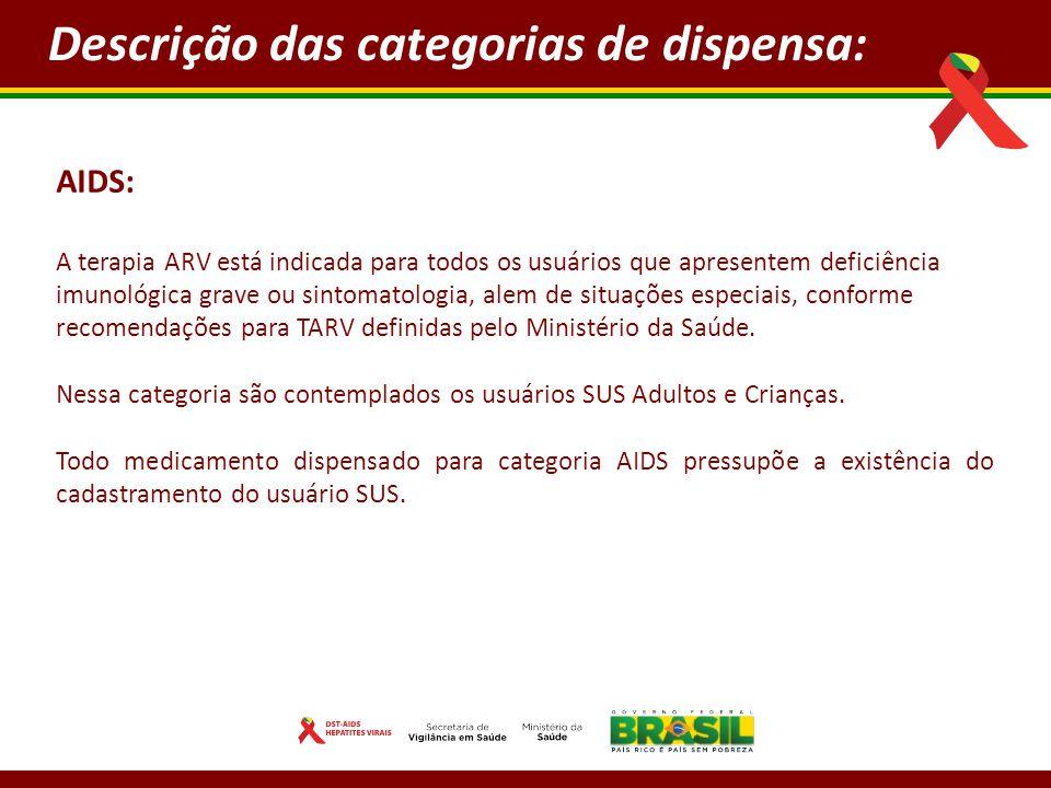 AIDS: A terapia ARV está indicada para todos os usuários que apresentem deficiência imunológica grave ou sintomatologia, alem de situações especiais, conforme recomendações para TARV definidas pelo Ministério da Saúde.