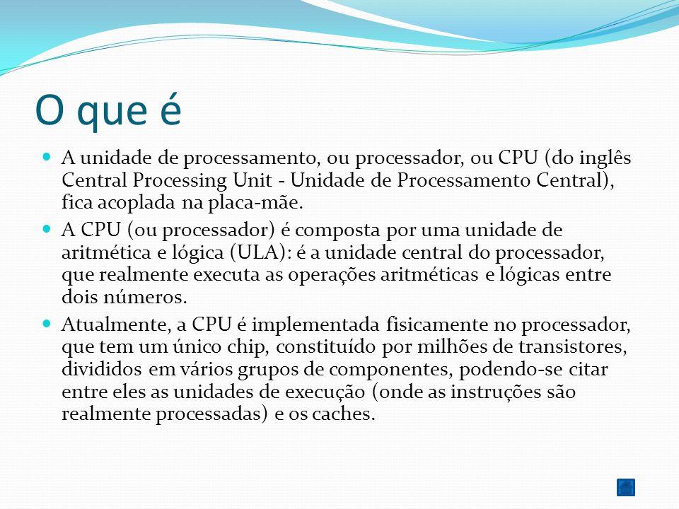 O que é A unidade de processamento, ou processador, ou CPU (do inglês Central Processing Unit - Unidade de Processamento Central), fica acoplada na pl