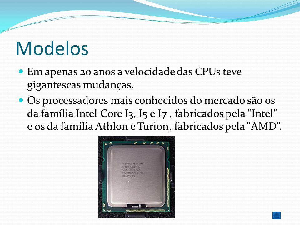 Modelos Em apenas 20 anos a velocidade das CPUs teve gigantescas mudanças. Os processadores mais conhecidos do mercado são os da família Intel Core I3