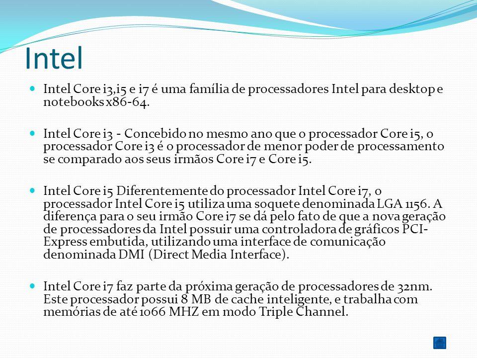 Intel Intel Core i3,i5 e i7 é uma família de processadores Intel para desktop e notebooks x86-64. Intel Core i3 - Concebido no mesmo ano que o process