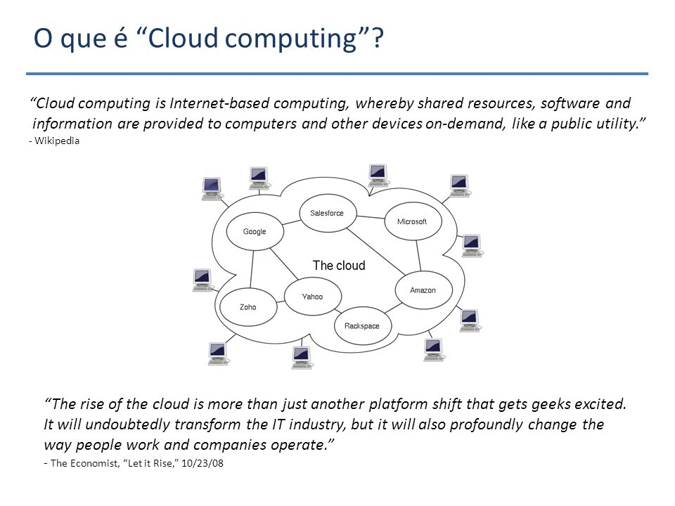 Cloud computing is Internet-based computing, whereby shared resources, software and information are provided to computers and other devices on-demand, like a public utility.