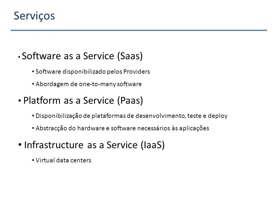 Serviços Software as a Service (Saas) Software disponibilizado pelos Providers Abordagem de one-to-many software Platform as a Service (Paas) Disponibilização de plataformas de desenvolvimento, teste e deploy Abstracção do hardware e software necessários às aplicações Infrastructure as a Service (IaaS) Virtual data centers