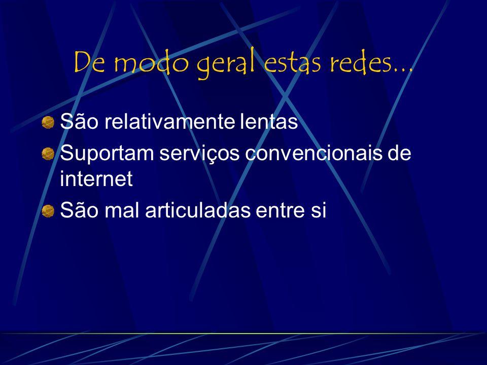 Tipos de redes Internet no Brasil Redes de Educação Redes governamentais Redes comerciais