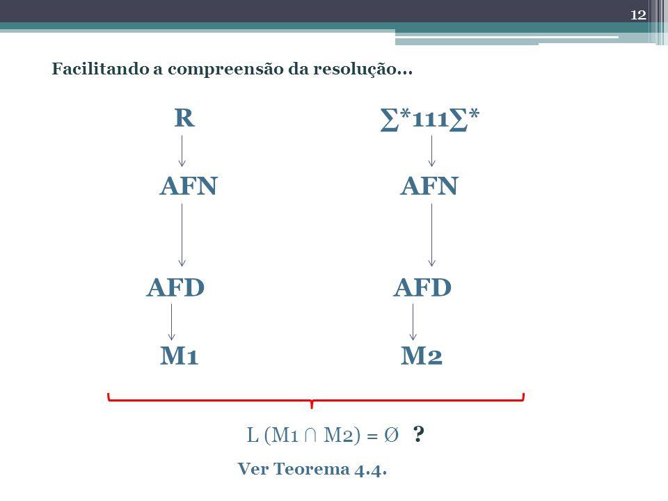 R *111* AFN AFN AFD AFD M1 M2 12 L (M1 M2) = Ø ? Ver Teorema 4.4. Facilitando a compreensão da resolução...