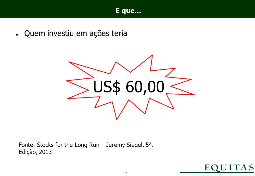 E que... Quem investiu em ações teria US$ 60,00 Fonte: Stocks for the Long Run – Jeremy Siegel, 5ª.