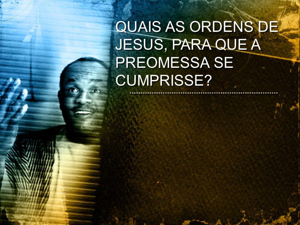 QUAIS AS ORDENS DE JESUS, PARA QUE A PREOMESSA SE CUMPRISSE?