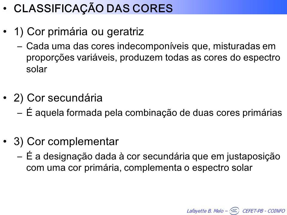 CLASSIFICAÇÃO DAS CORES 1) Cor primária ou geratriz –Cada uma das cores indecomponíveis que, misturadas em proporções variáveis, produzem todas as cor