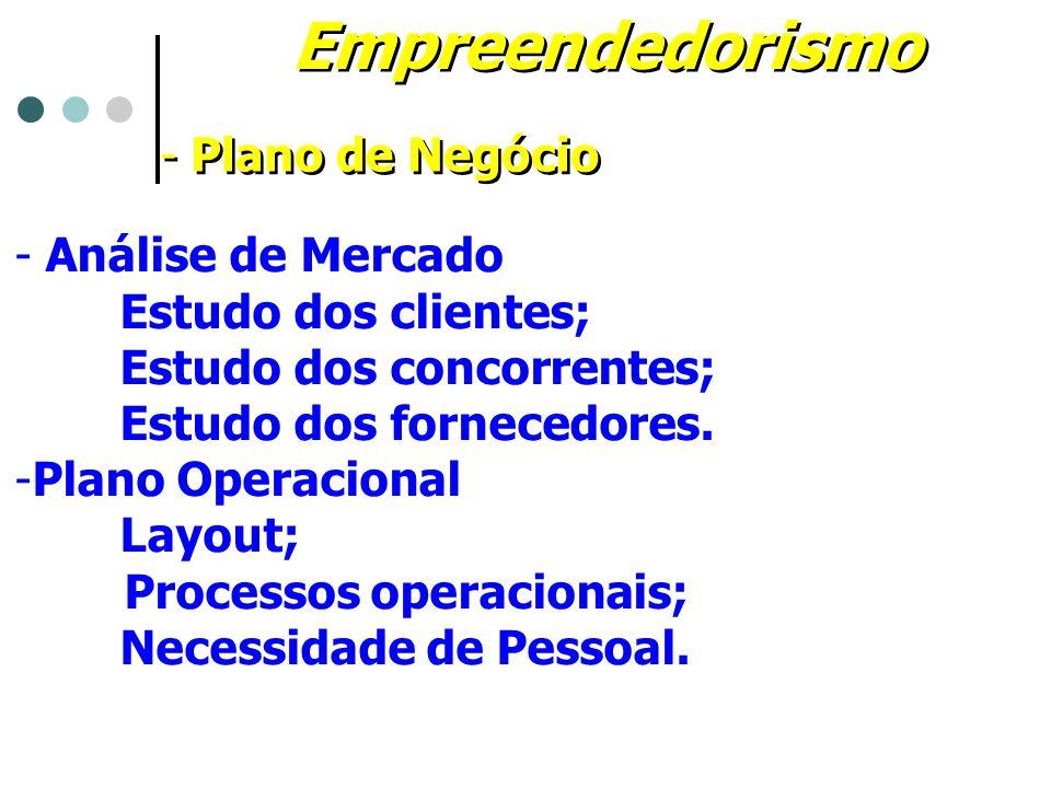 Empreendedorismo - Plano de Negócio - Análise de Mercado Estudo dos clientes; Estudo dos concorrentes; Estudo dos fornecedores. -Plano Operacional Lay
