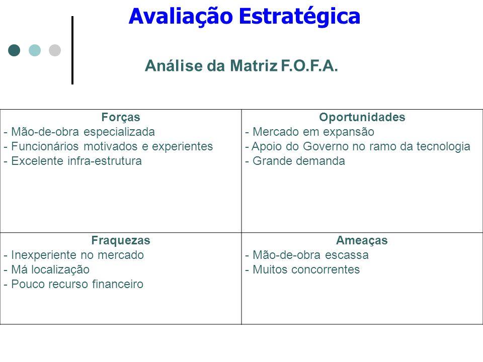 Avaliação Estratégica Forças - Mão-de-obra especializada - Funcionários motivados e experientes - Excelente infra-estrutura Oportunidades - Mercado em