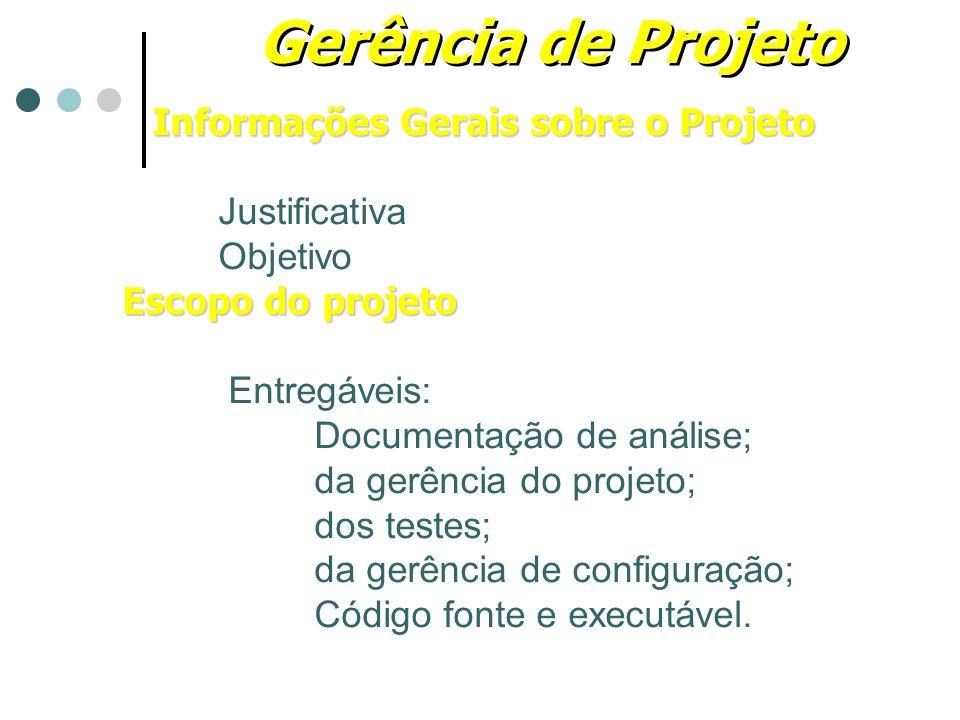 Gerência de Projeto Informações Gerais sobre o Projeto Justificativa Objetivo Escopo do projeto Entregáveis: Documentação de análise; da gerência do p