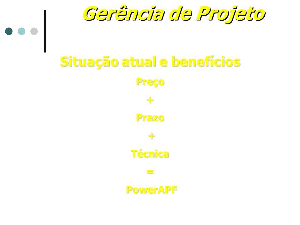 Gerência de Projeto Situação atual e benefícios Preço+Prazo +Técnica= PowerAPF PowerAPF