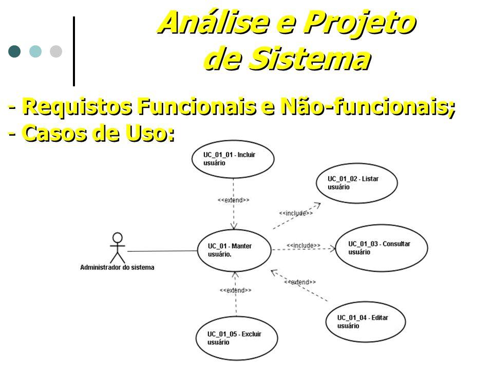 Análise e Projeto de Sistema Análise e Projeto de Sistema - Requistos Funcionais e Não-funcionais; - Casos de Uso: - Requistos Funcionais e Não-funcio