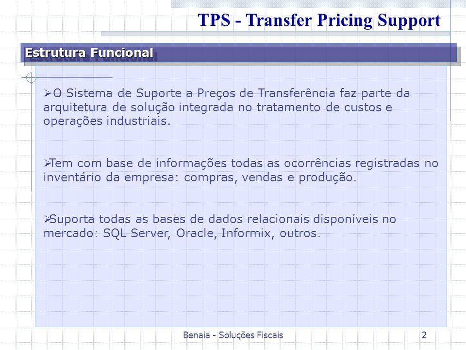 Benaia - Soluções Fiscais2 Estrutura Funcional O Sistema de Suporte a Preços de Transferência faz parte da arquitetura de solução integrada no tratame