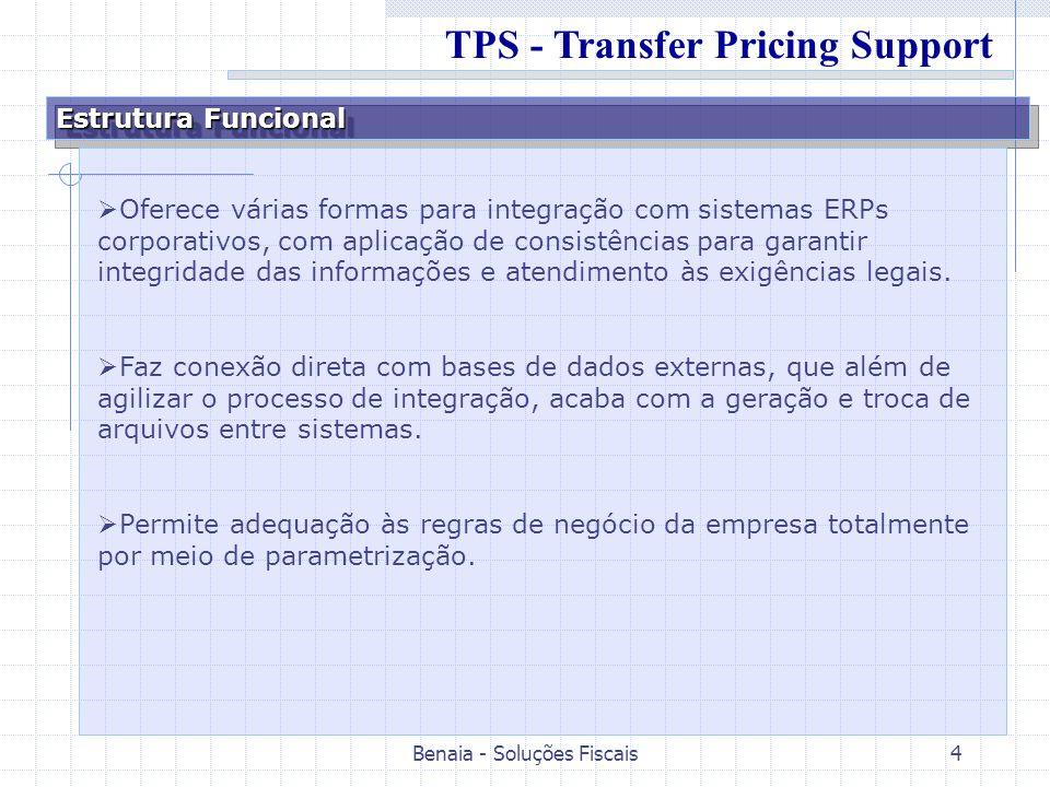 Benaia - Soluções Fiscais4 Estrutura Funcional Oferece várias formas para integração com sistemas ERPs corporativos, com aplicação de consistências pa