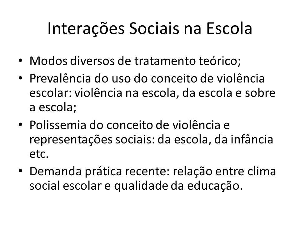 Dimensões do Clima Social Escolar: Novos contextos na contemporaneidade alterando o modo de socialização; Clima escolar refere-se a qualidade das relações em ambiente escolar (Blaya & Debarbieux, 2002); Violência enquanto atos infracionais; Indisciplinas e incivilidades; Sentimentos de (in)segurança;