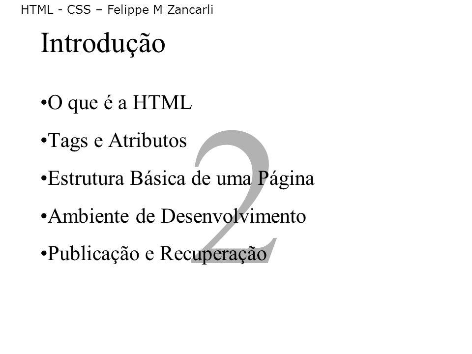 HTML - CSS – Felippe M Zancarli 2 Introdução O que é a HTML Tags e Atributos Estrutura Básica de uma Página Ambiente de Desenvolvimento Publicação e R