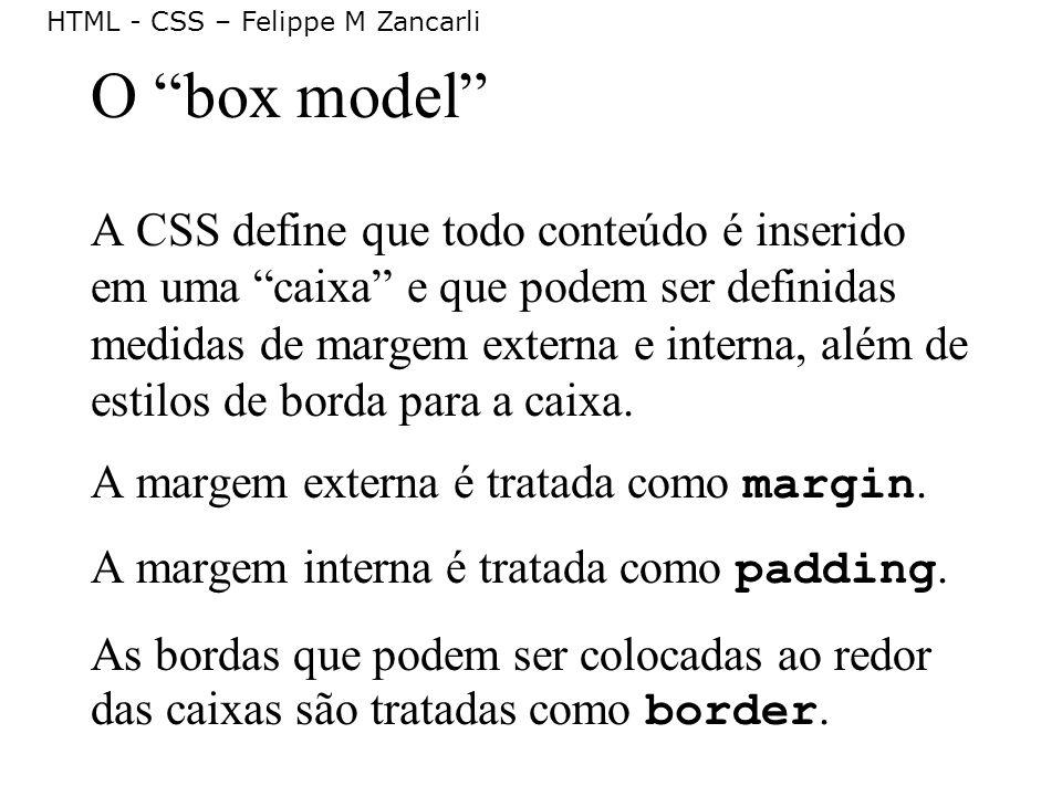 HTML - CSS – Felippe M Zancarli O box model A CSS define que todo conteúdo é inserido em uma caixa e que podem ser definidas medidas de margem externa